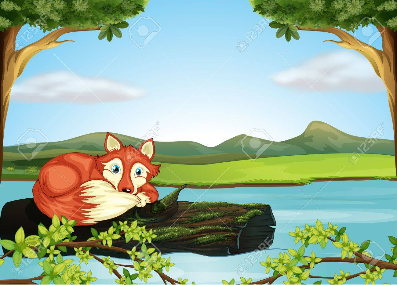 Illustration of a wild animal in the river Stock Vector - 17895726