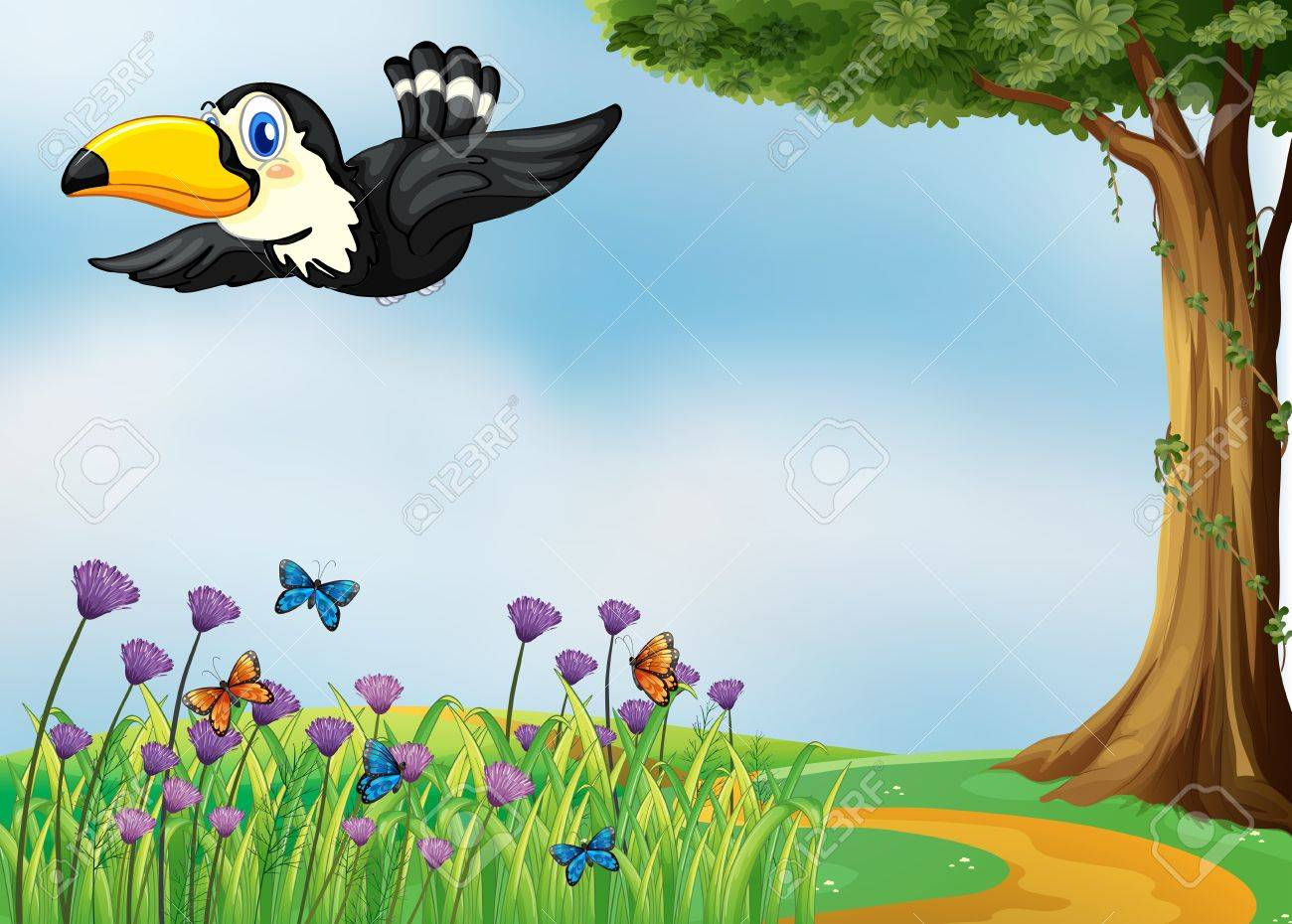 Illustration of a flying bird in a beautiful nature Stock Vector - 17896357
