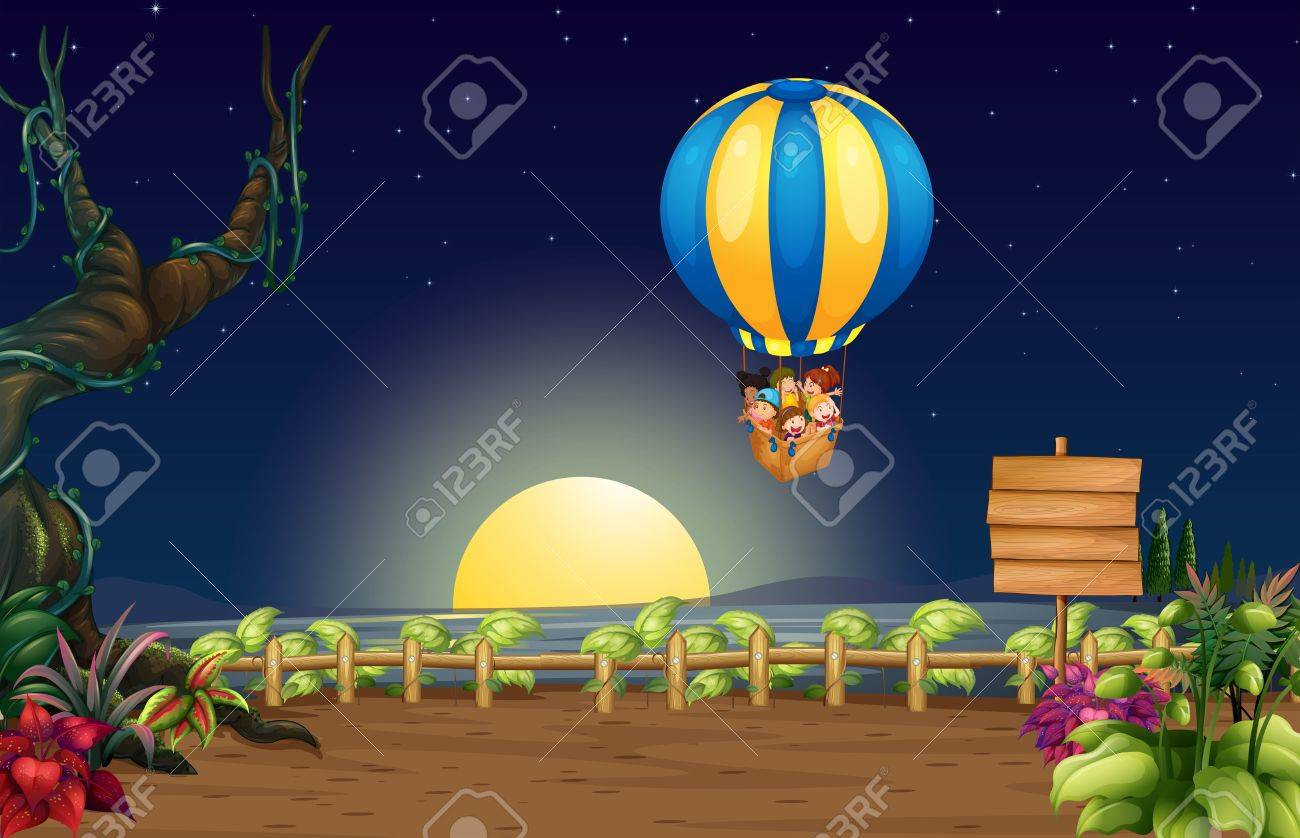 Illustration of a flying hot air balloon in the middle of the night with kids Stock Vector - 17896348