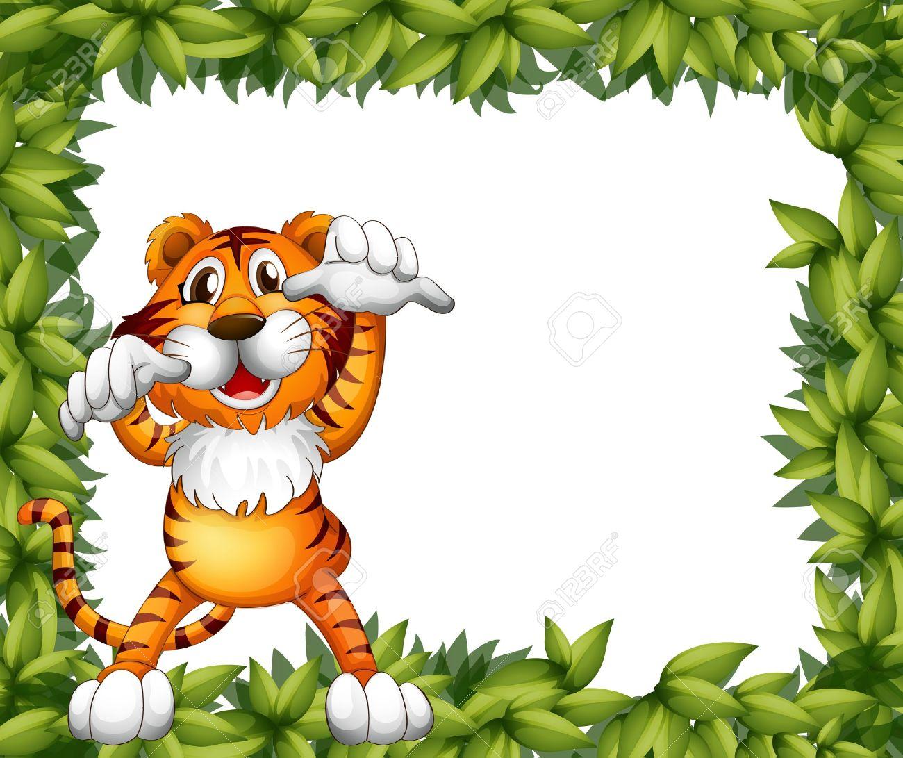 Ilustración De Un Tigre Y Un Marco Planta Sobre Un Fondo Blanco ...