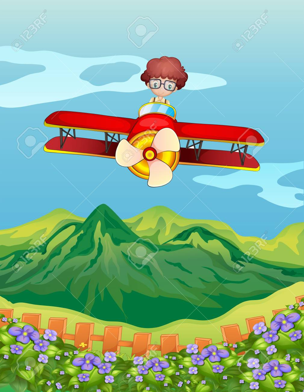 Illustration of a boy and an airplane in a beautiful nature Stock Vector - 17896337
