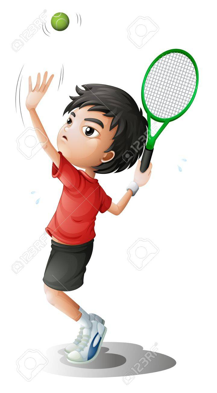 Illustration of a boy playing tennis on a white background Stock Vector - 17895790