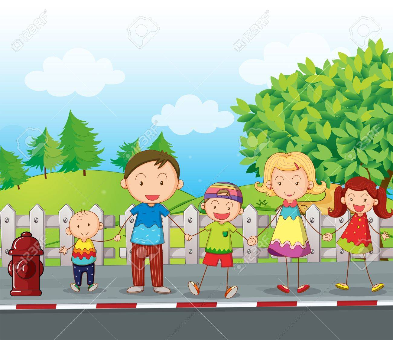 Illustration of a family along the road Stock Vector - 17895480