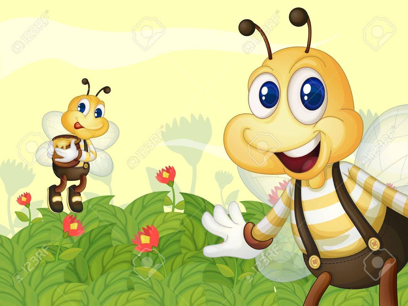 Illustration of honeybees in the garden Stock Vector - 17896315