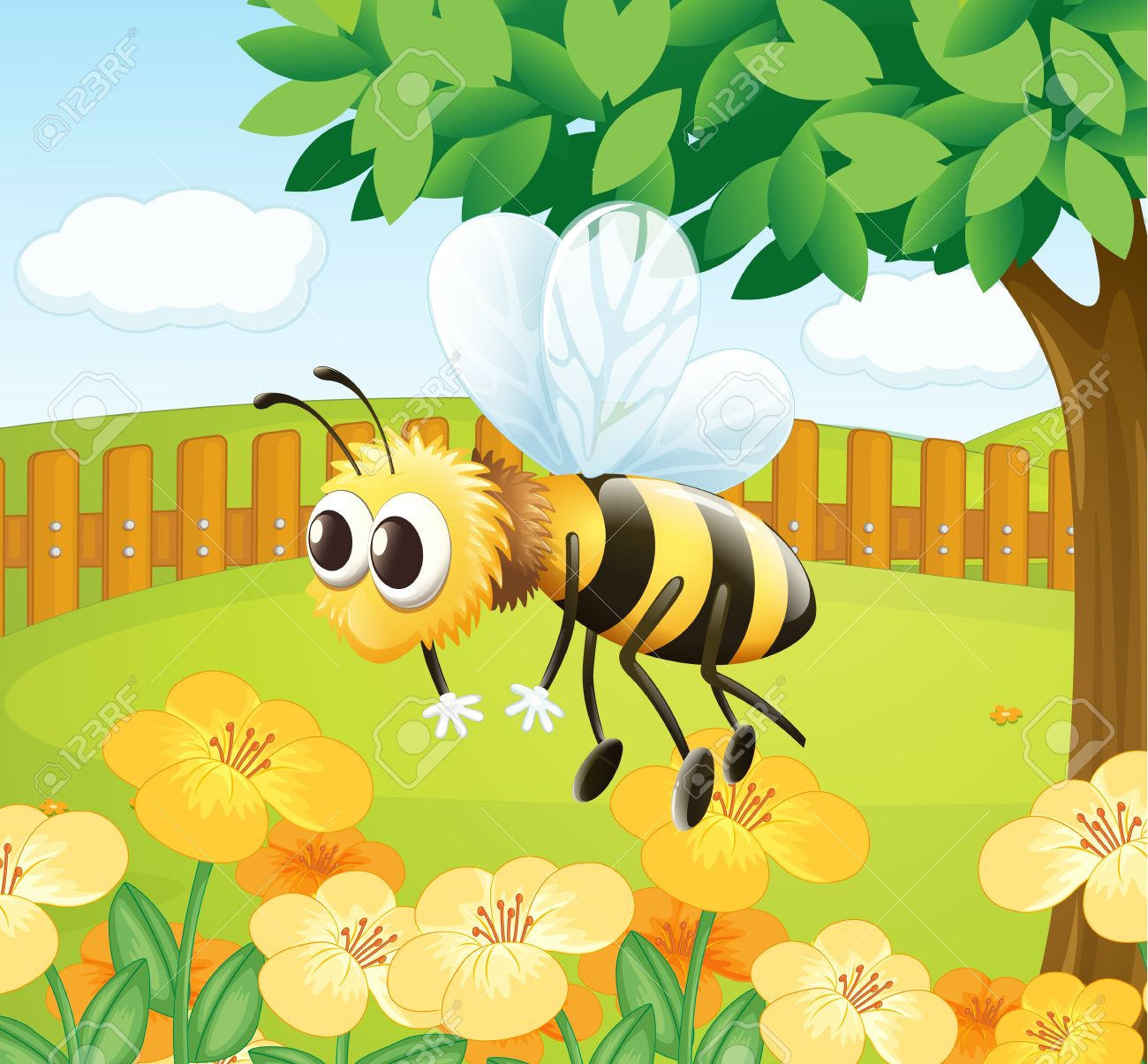 Illustration Of A Bee In A Fenced Garden Royalty Free Cliparts ...