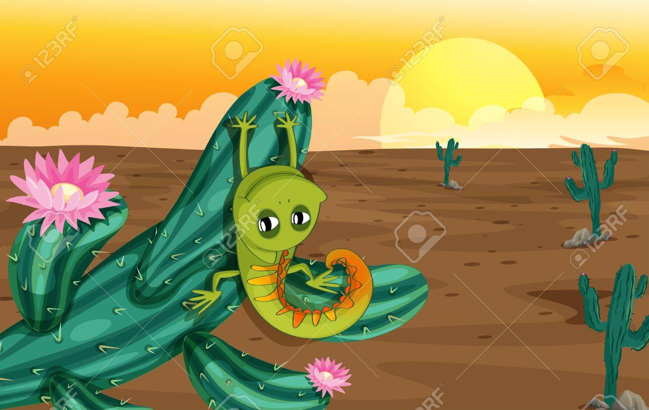 Illustration of a cactus with lizard Stock Vector - 17895459