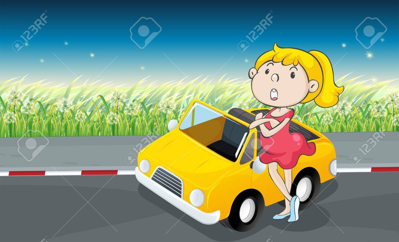 Illustration of a woman beside a car Stock Vector - 17896354