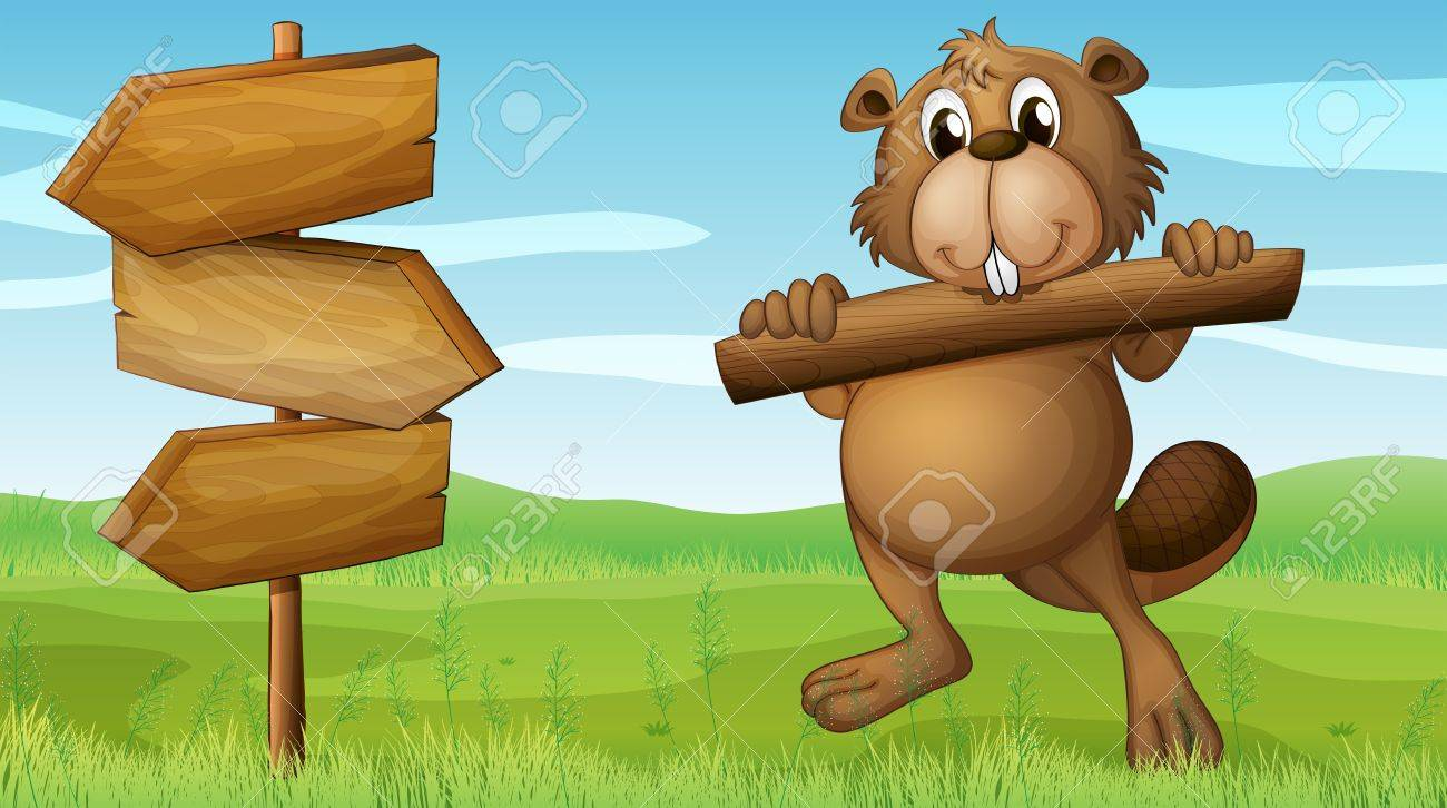 Illustration of a beaver in the hills with a piece of wood Stock Vector - 17896327