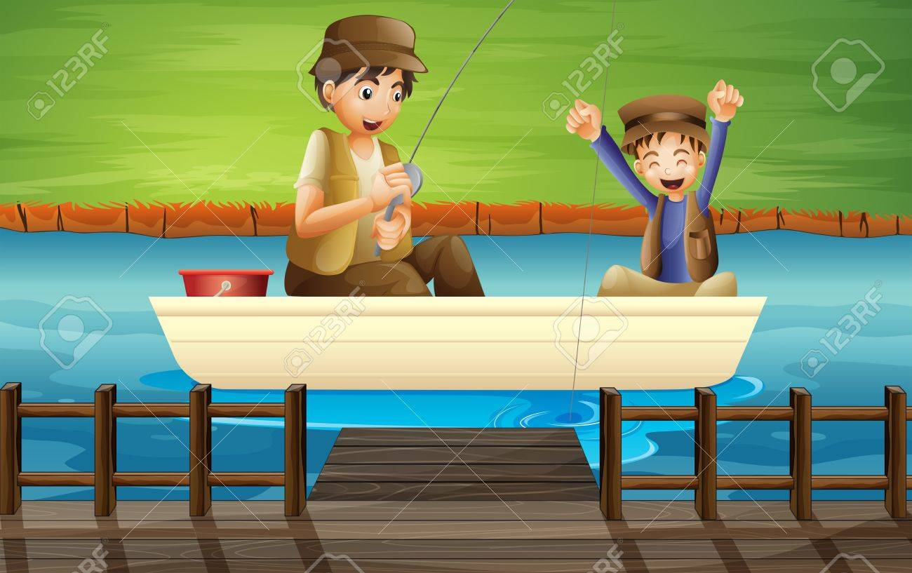 Illustration of kids catching fish in a boat Stock Vector - 17895665