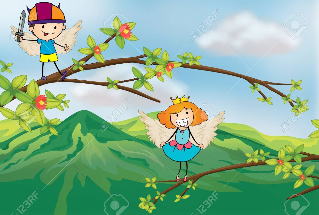 Illustration of angels at the branches of a tree Stock Vector - 17895730