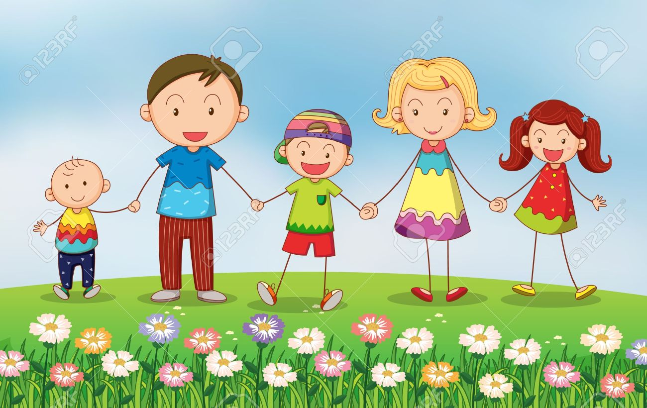 Playing garden drawing for kids - Illustration Of A Family In The Garden Stock Vector 17895468