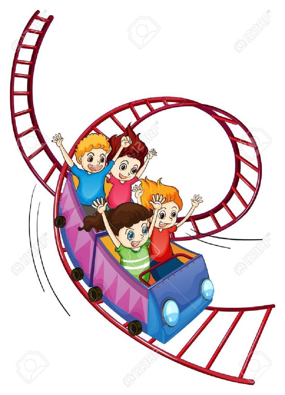 Illustration of brave kids riding in a roller coaster ride on a white background Stock Vector - 17895460