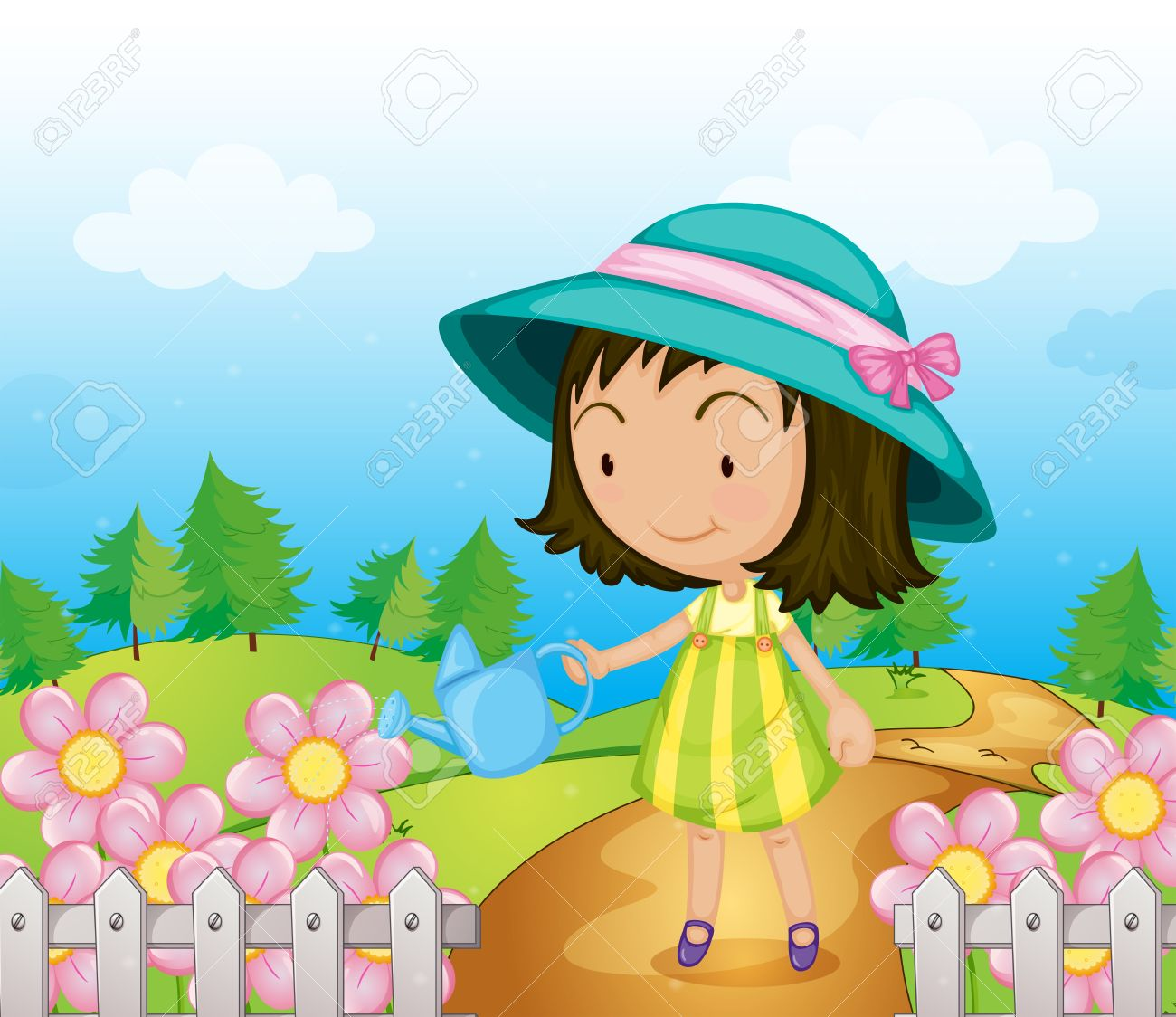 Illustration of a girl watering the flowers Stock Vector - 17895612