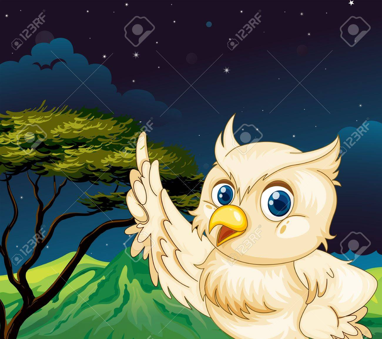 illustration of a big owl in the jungle royalty free cliparts