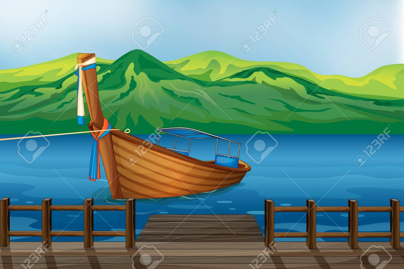 Illustration of a wooden boat tied at the seaport Stock Vector - 17895676