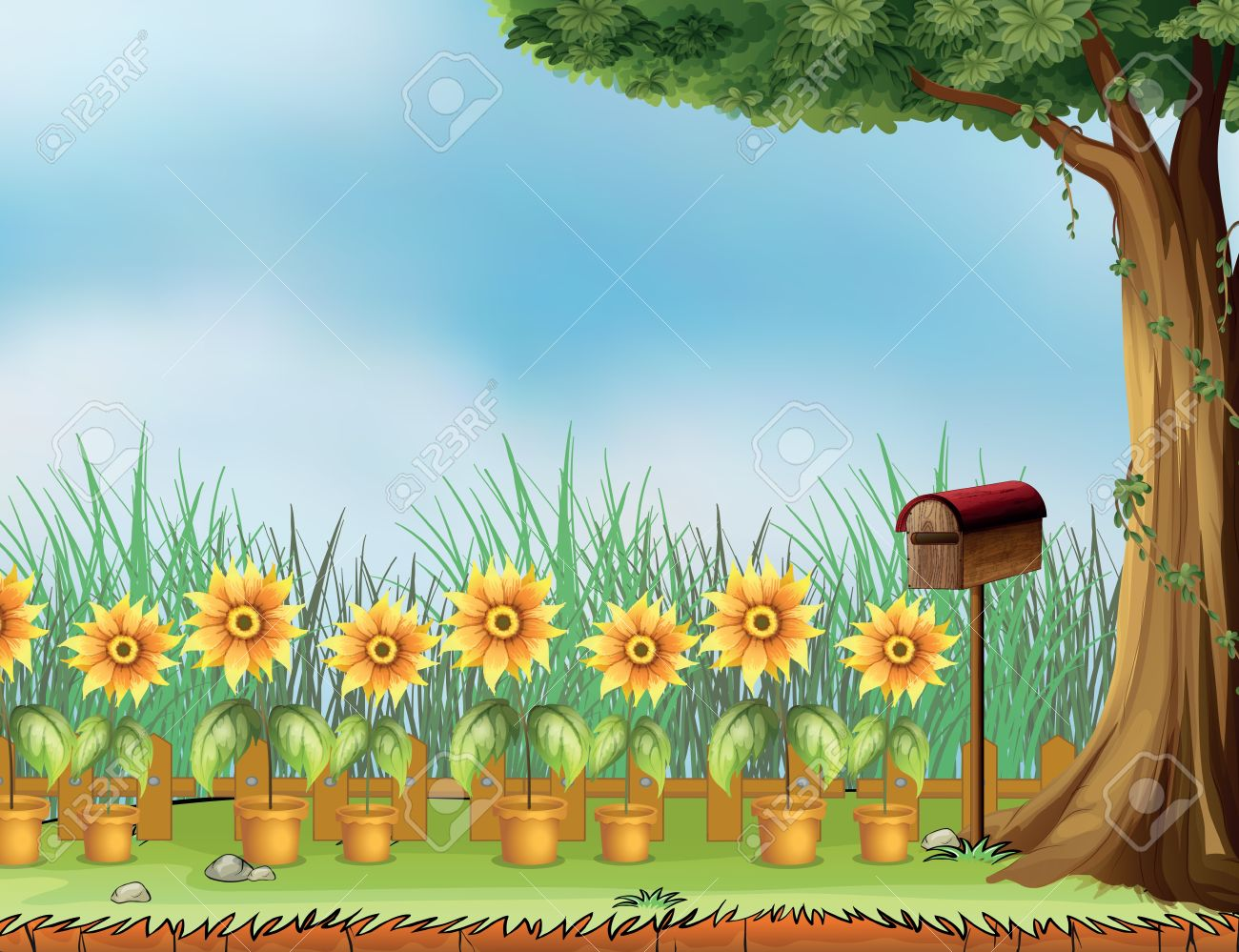 illustration of a letter box and flower pot in a garden royalty free cliparts vectors and stock illustration image 17896682 illustration of a letter box and flower pot in a garden