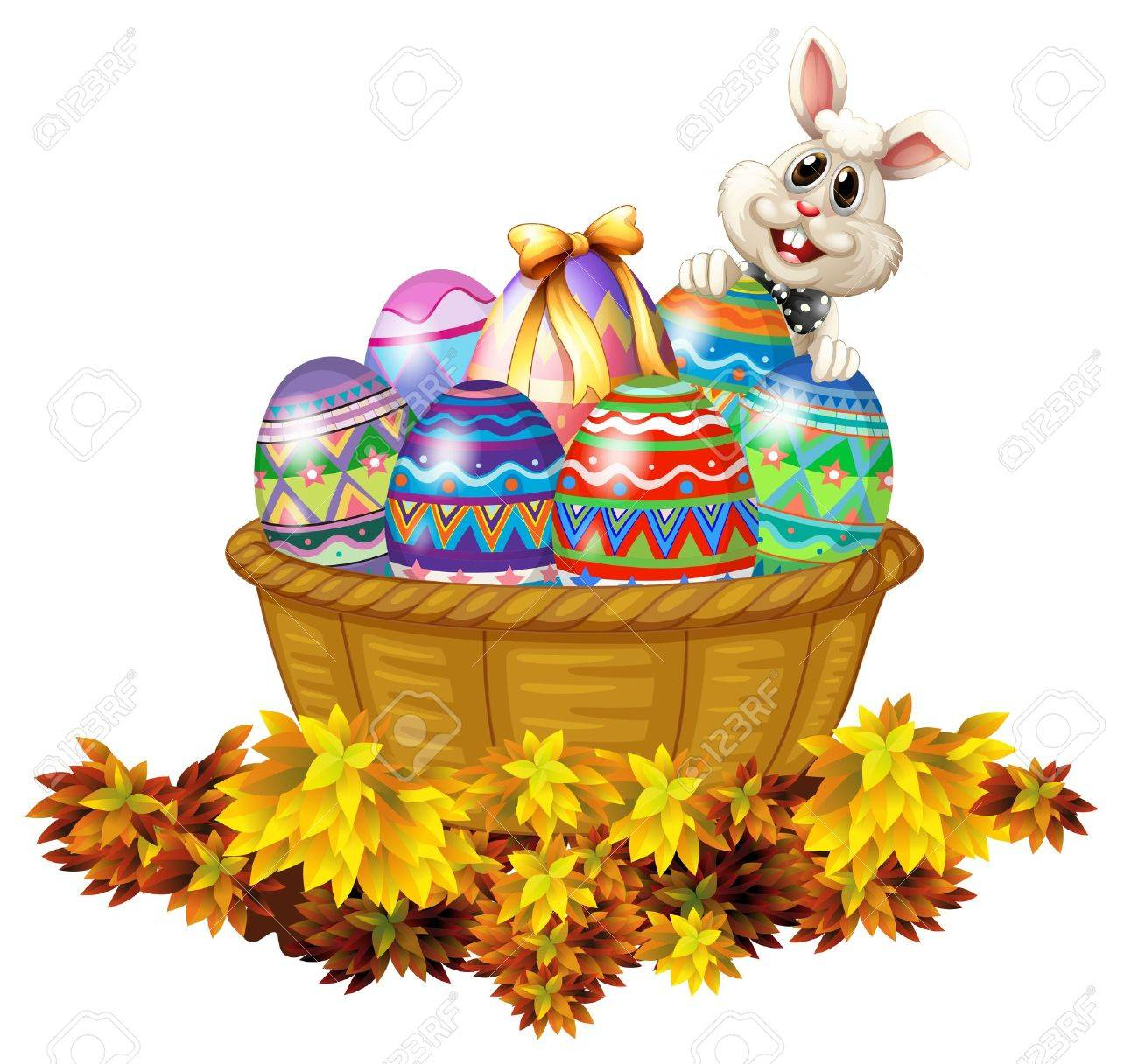 illustration of a basket full of easter eggs and a bunny on a