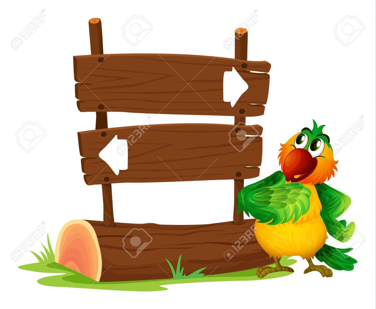 Illustration of a sign board and a bird on a white background Stock Vector - 17896452