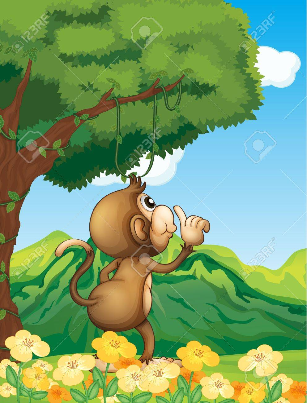 Illustration of a monkey wondering in the forest Stock Vector - 17896470