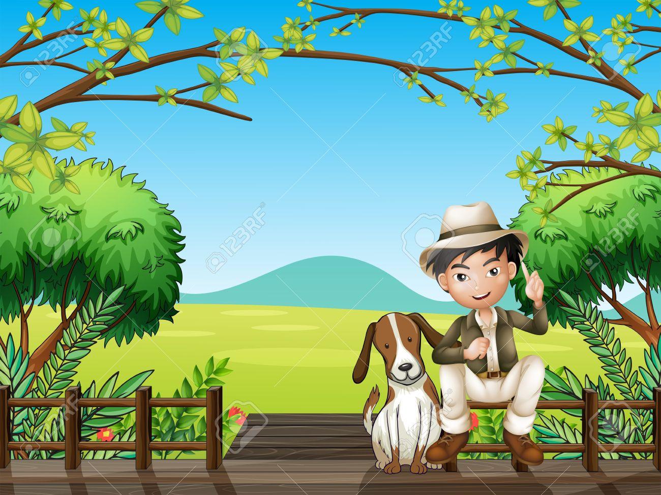 Illustration of a smiling boy and a dog sitting on a wooden platform - 17896751