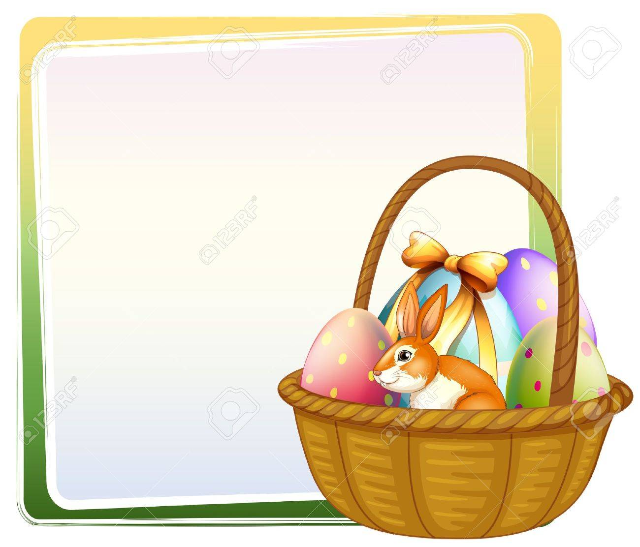 Illustration of a basket of Easter egg with a bunny on a white background Stock Vector - 17896531