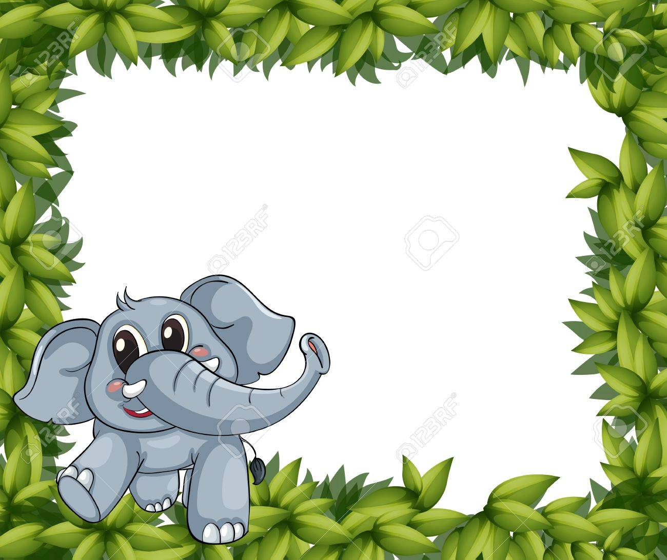 Illustration Of A Smiling Elephant And Plant Frame On A White ...