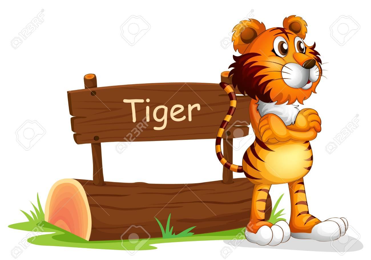 Illustration Eines Tigers Neben Einem Hölzernen Schild Auf Einem ...