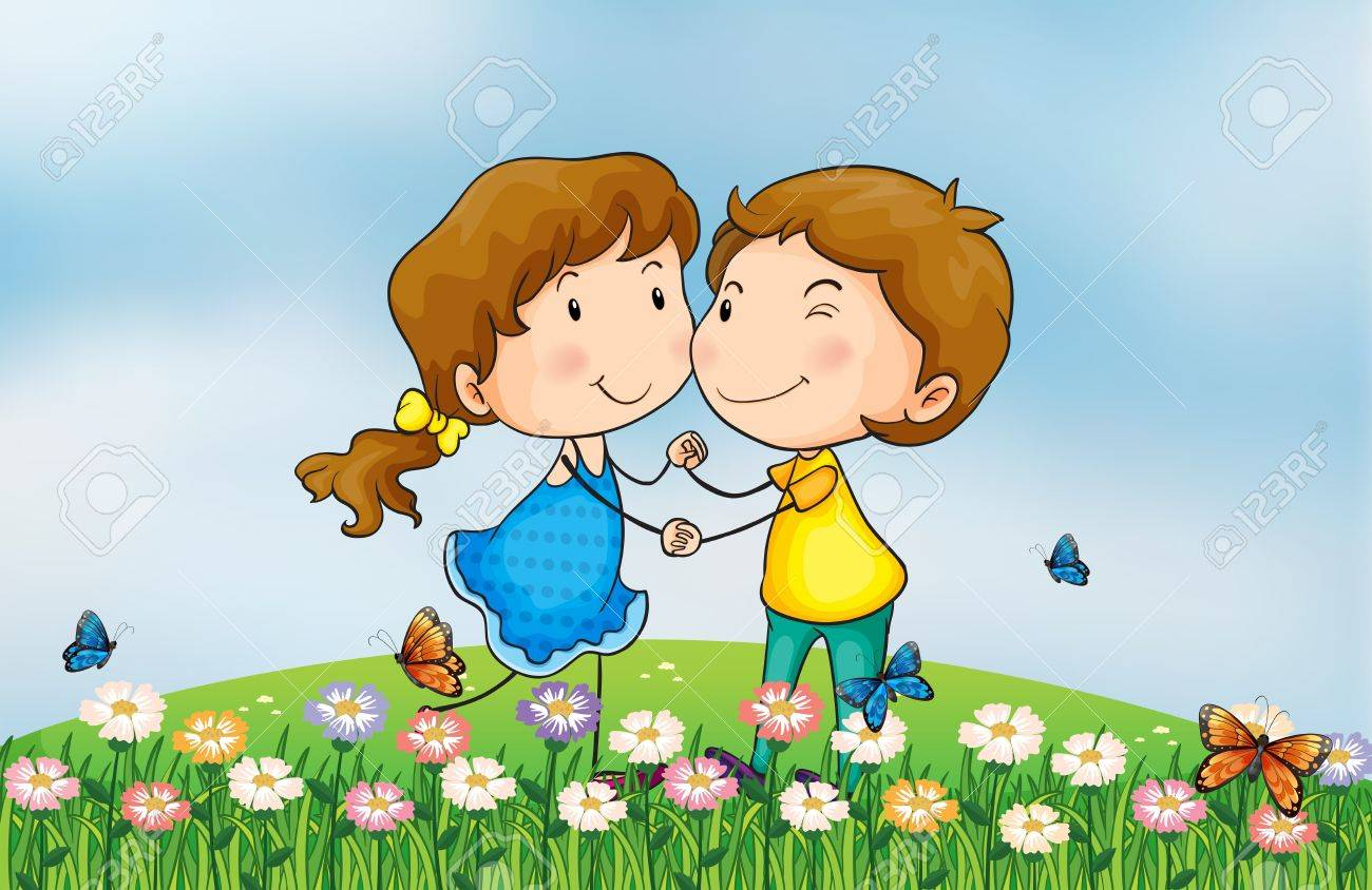 Illustration of a smiling girl and a boy in a beautiful nature Stock Vector - 17896535