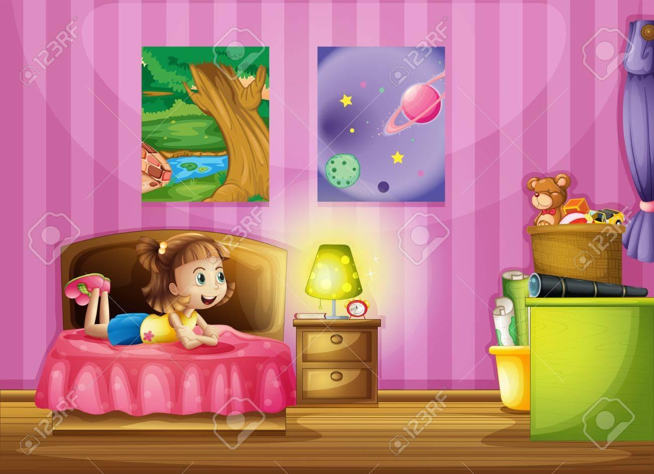Illustration D\'une Petite Fille Dans Sa Chambre Colorée Clip Art ...