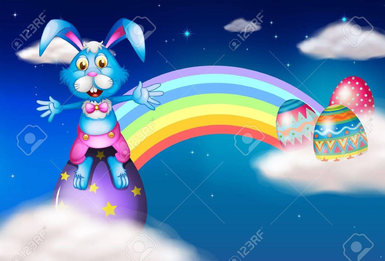 Illustration of an easter bunny and eggs near the rainbow Stock Vector - 17897466