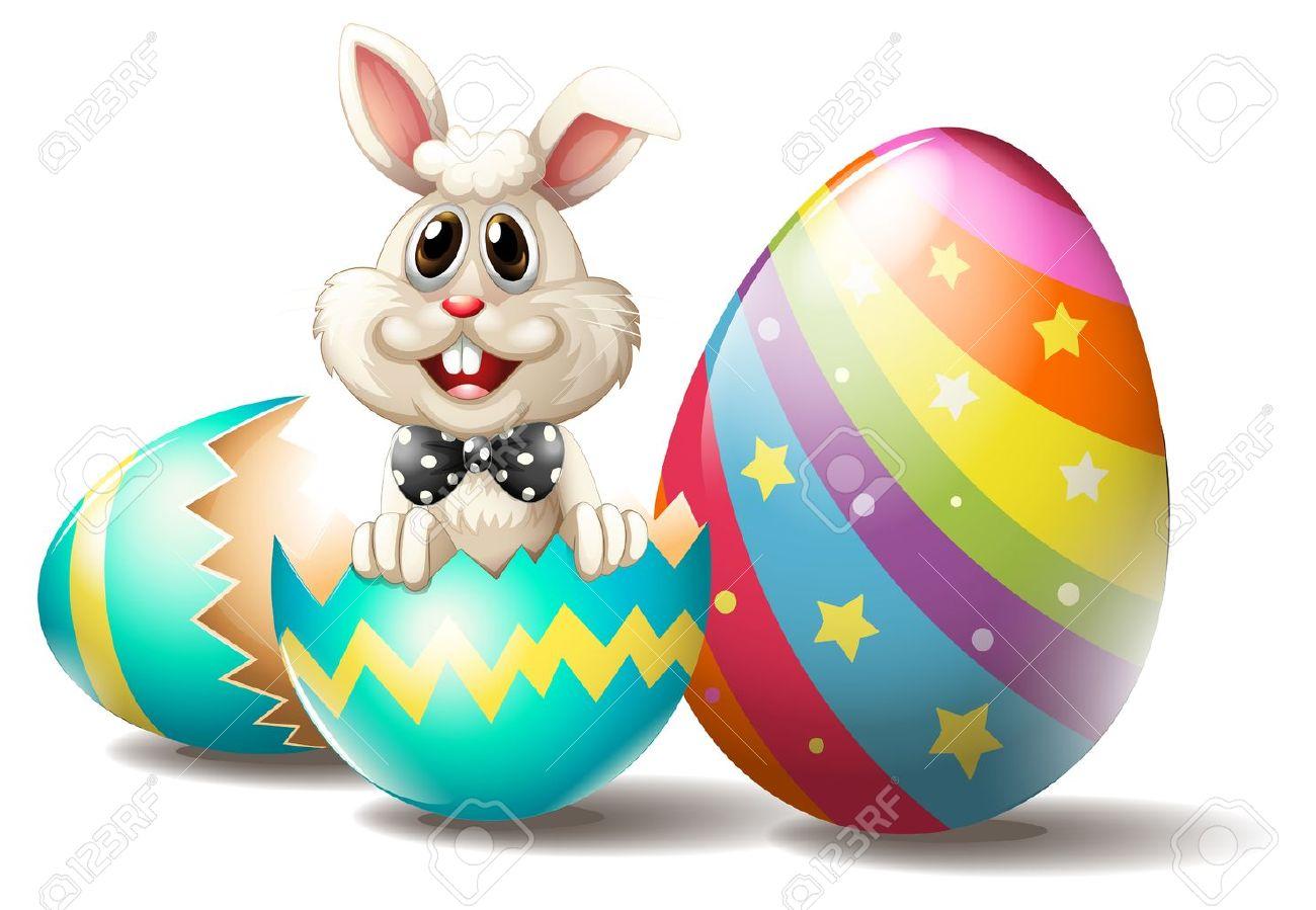illustration of a rabbit inside a cracked easter egg on a white