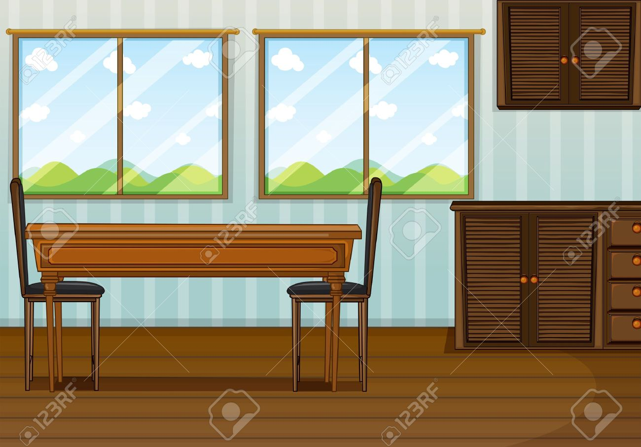 Dining room table and chairs clipart - Illustration Of A Clean Dining Room Stock Vector 17896906