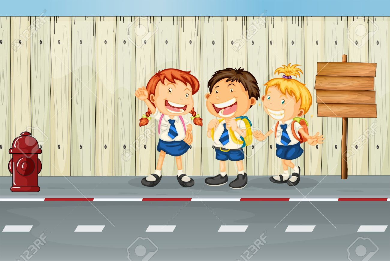 Illustration of the children laughing along the road - 17896905