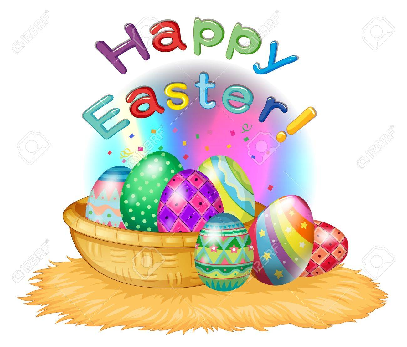 Illustration of a happy easter greeting with a basket full of eggs on a white background Stock Vector - 17897221