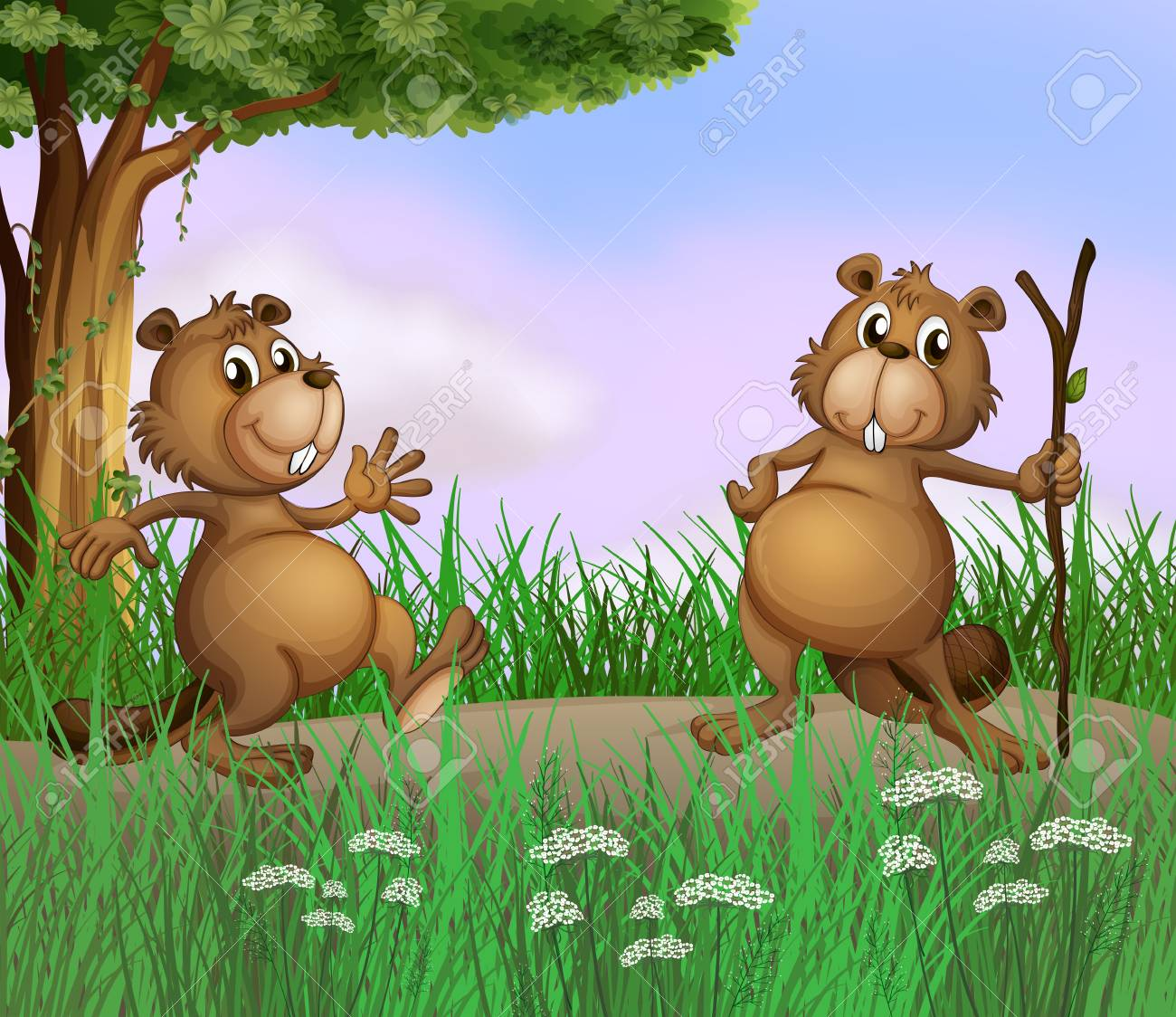 Illustration of the two beavers playing in the forest Stock Vector - 17897895