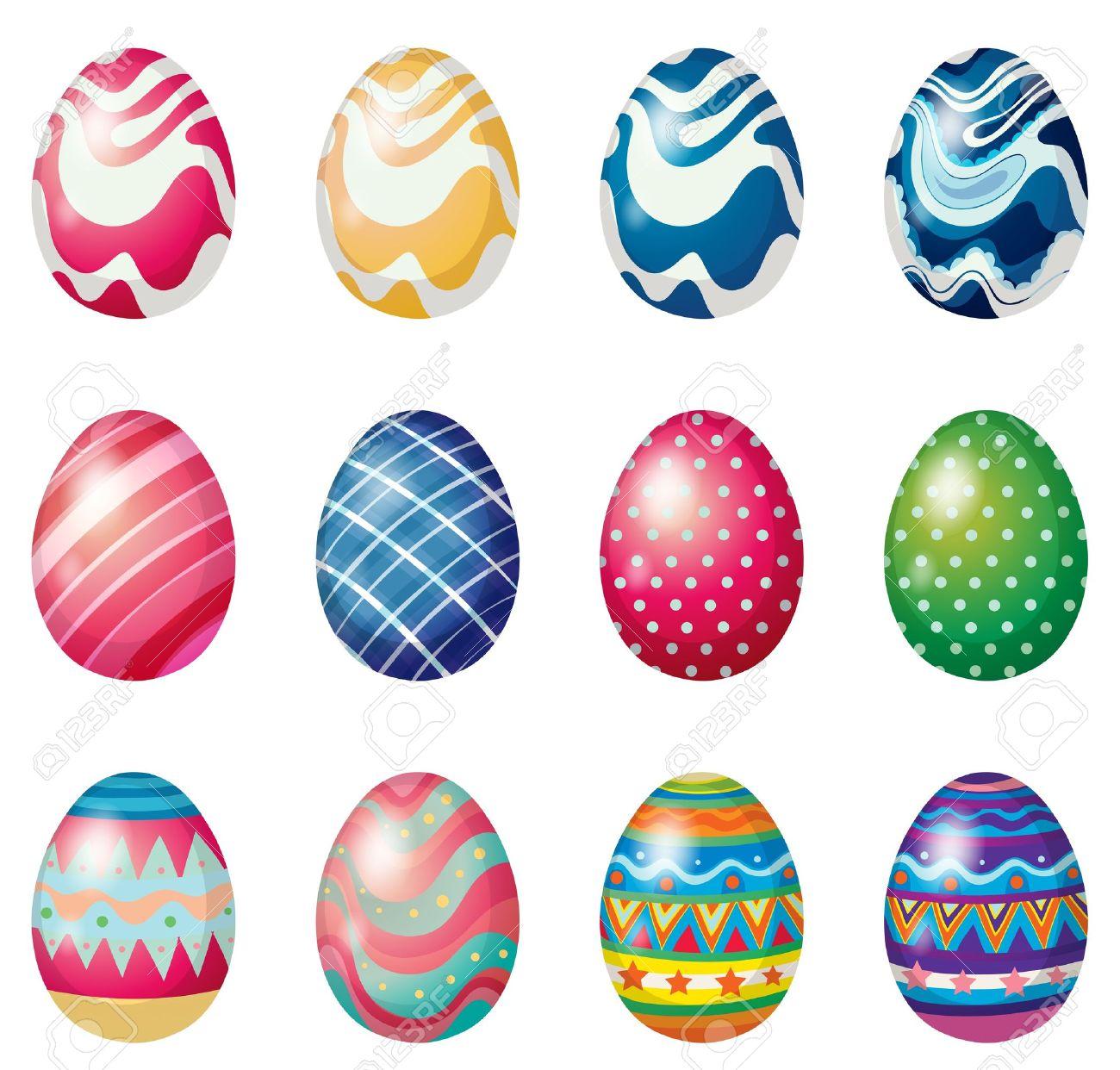 Illustration Of The Easter Eggs For The Easter Sunday Egg Hunt ... for Easter Egg Hunt Clipart  565ane
