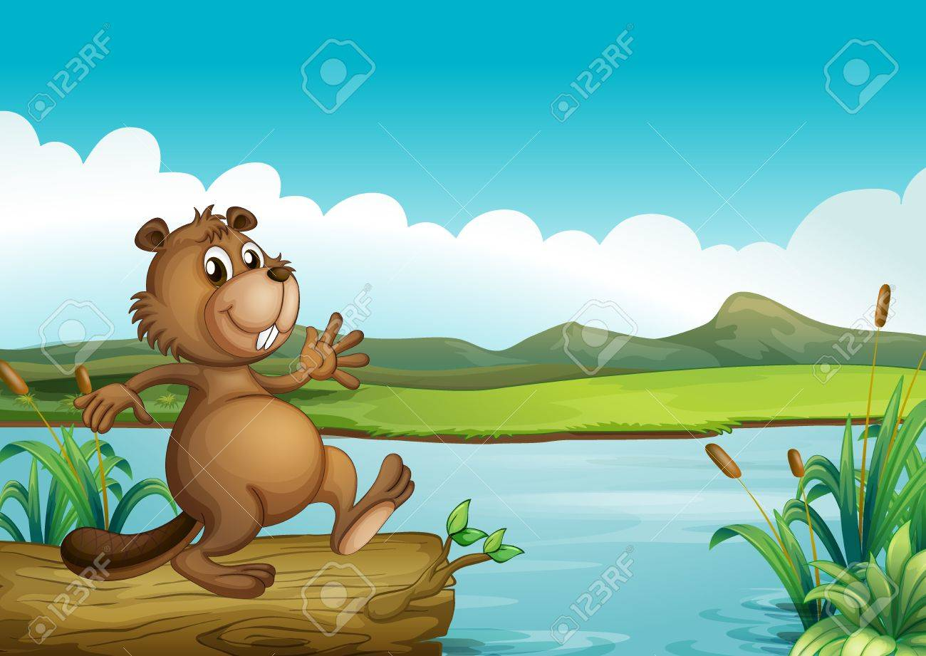 Illustration of a beaver above a floating wood Stock Vector - 17897469