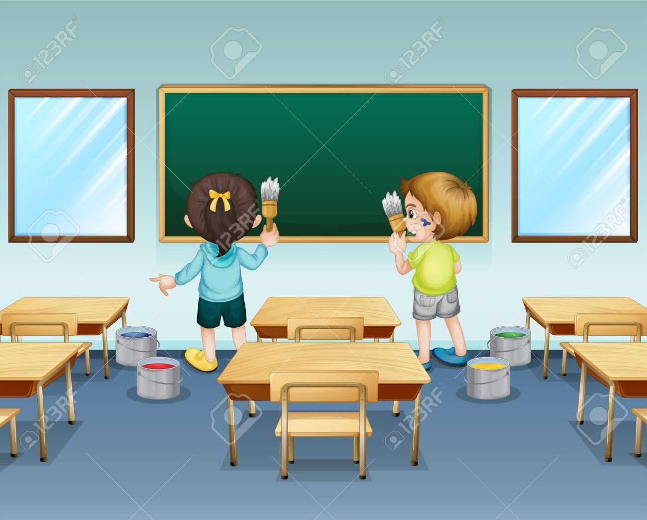 Empty cartoon classroom background - Classroom Students Floor Illustration Of Students Painting Their Classroom Illustration