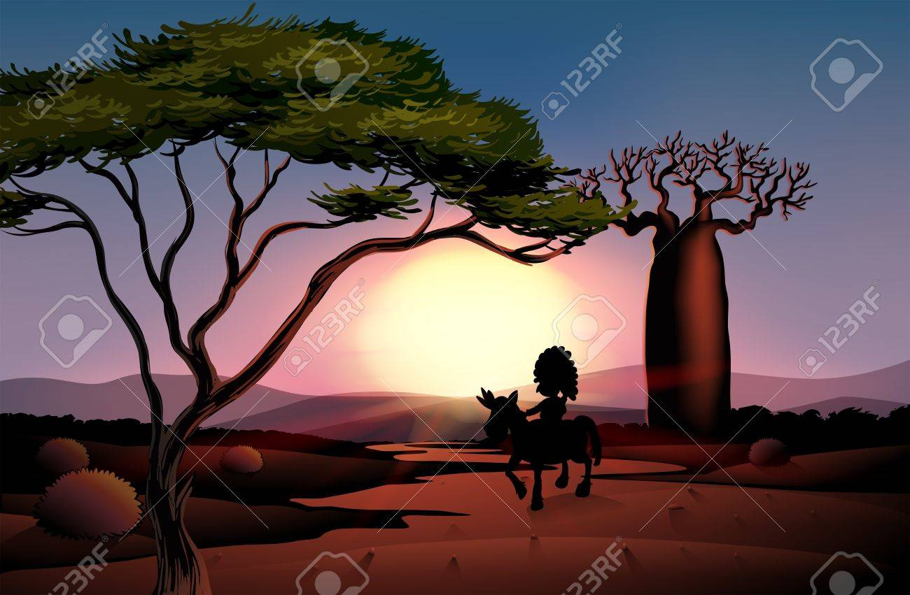 lllustration of a sunset scenery Stock Vector - 17897891