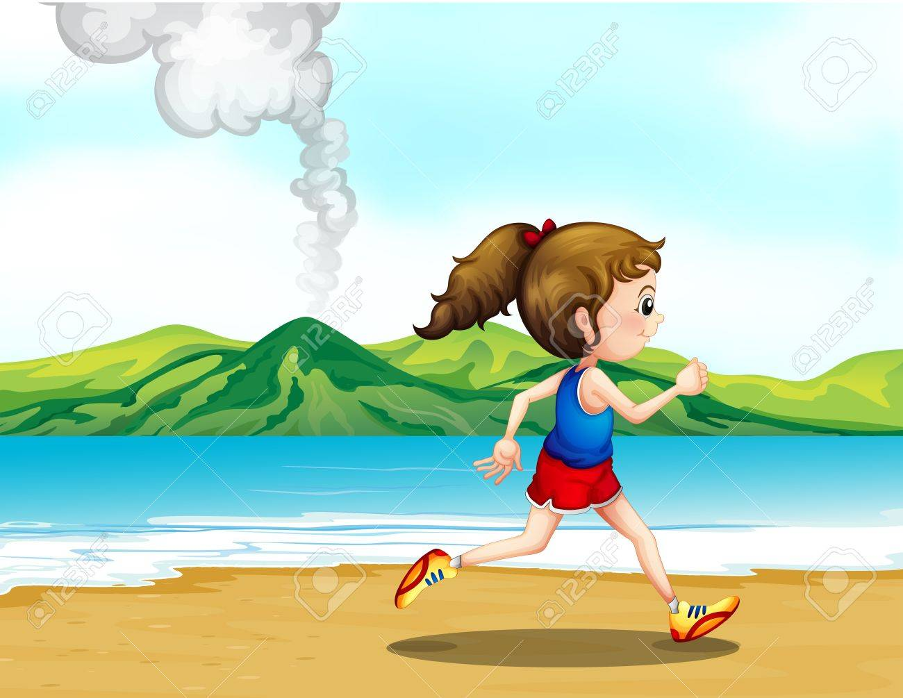 Illustration of a girl jogging at the seashore Stock Vector - 17821555