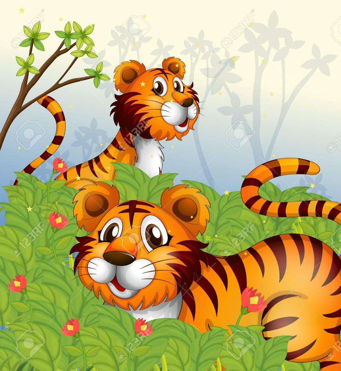 Illustration of tigers in the woods Stock Vector - 17821592