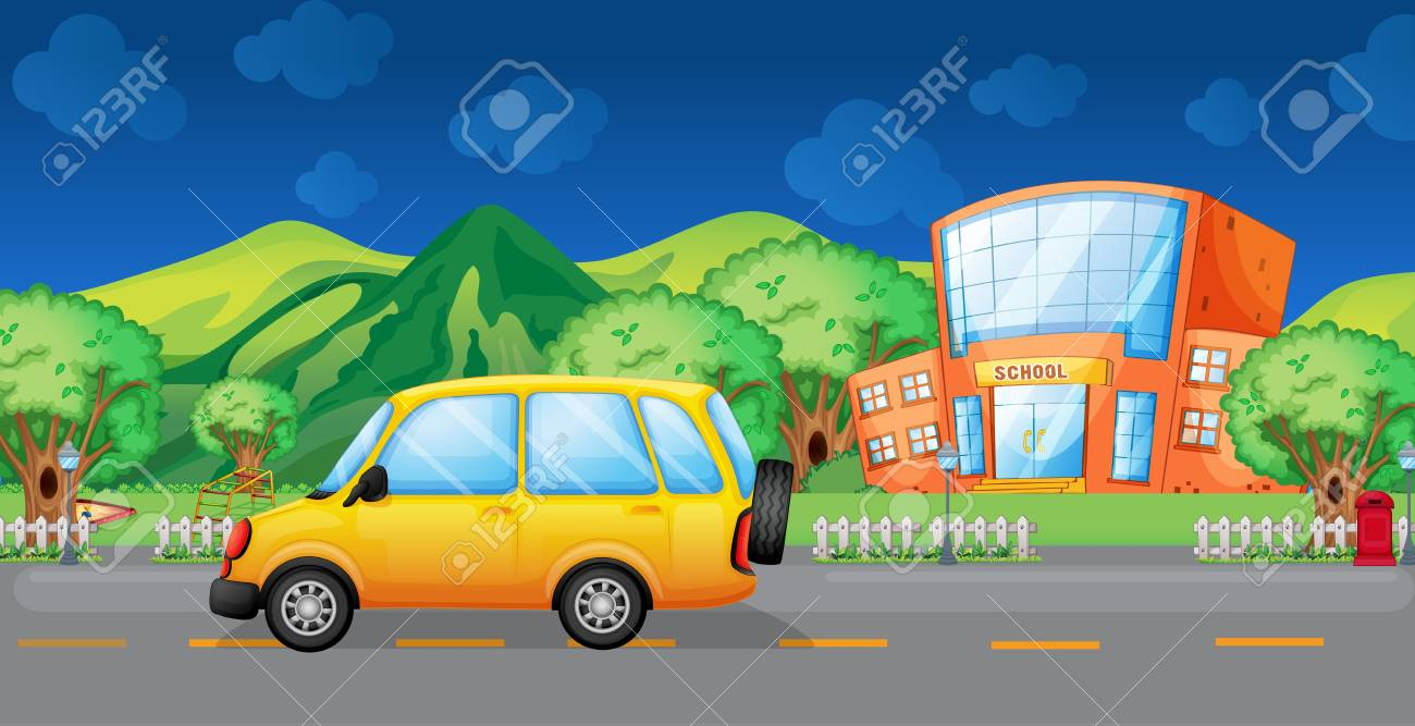 Illustration of a yellow van at the road Stock Vector - 17821688