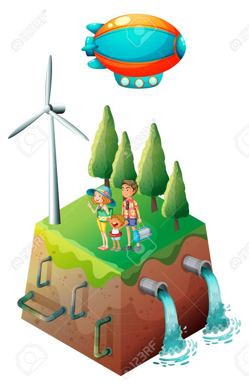 Illustration of a family near a windmill on a white background Stock Vector - 17821666