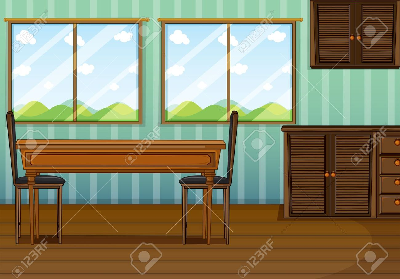 Cartoon kitchen with cabinets and window vector art illustration - Kitchen Cabinet Illustration Of A Clean Dining Room With Wooden Furnitures