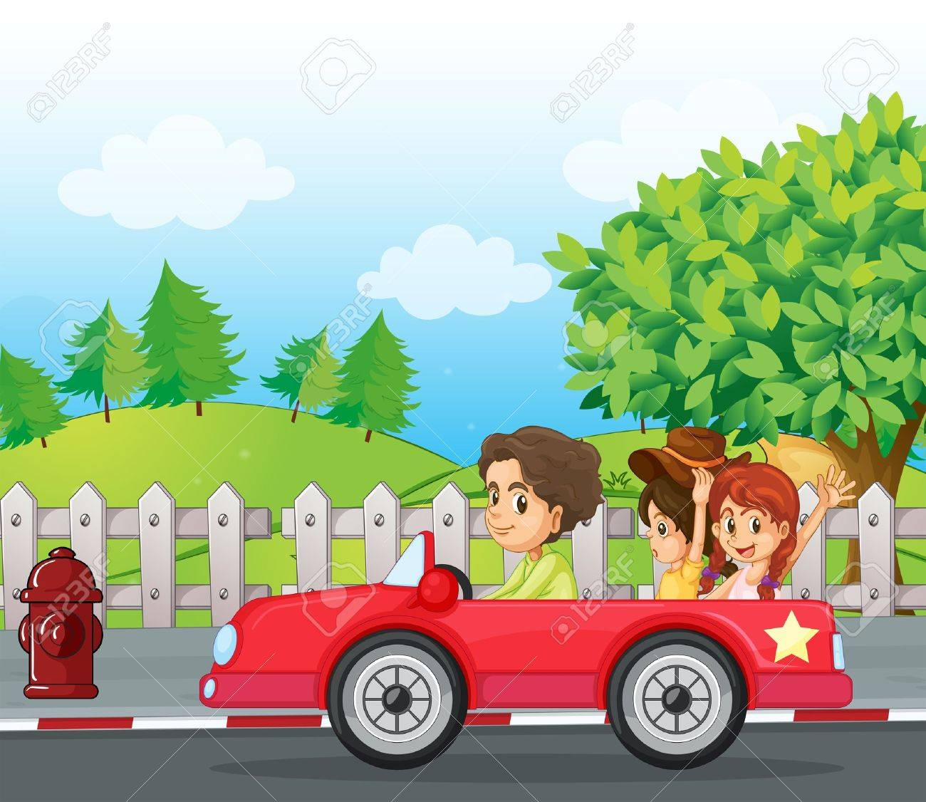 Illustratio of a young gentlemen driving a car with two ladies at the back Stock Vector - 17821556