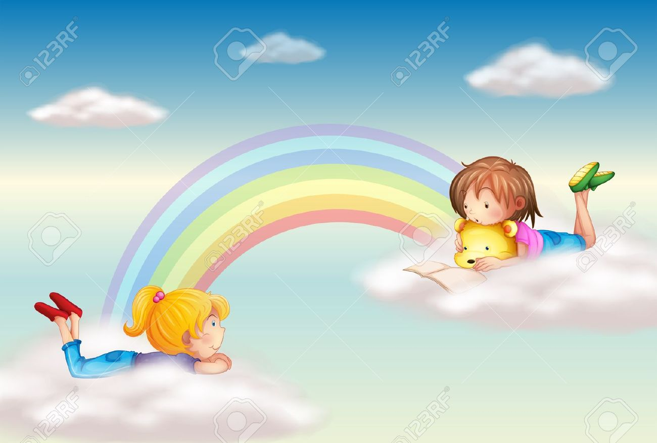 Illustration of two girls along the rainbow - 17868246