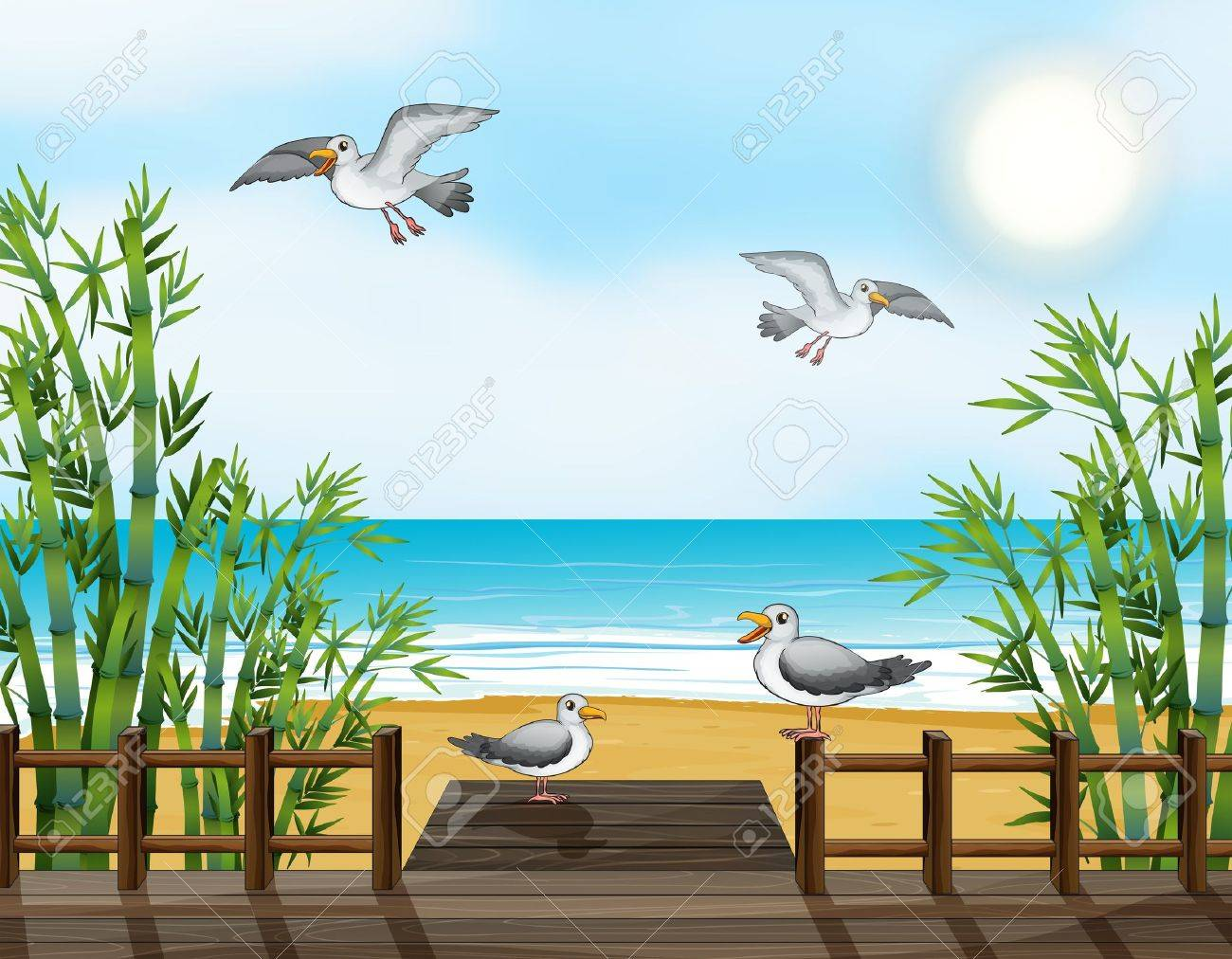 Illustration of a flock of birds at the bridge Stock Vector - 17867957