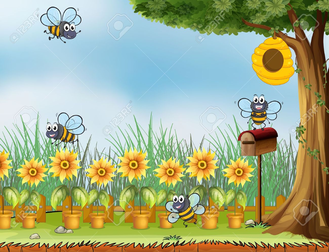 Illustration Of Four Bees In The Garden Royalty Free Cliparts ...