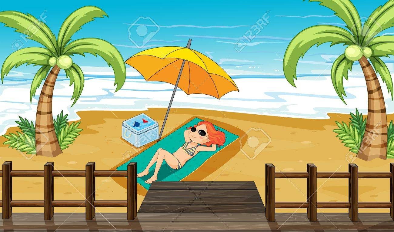 Illustration of a girl sunbathing at the shore Stock Vector - 17867729