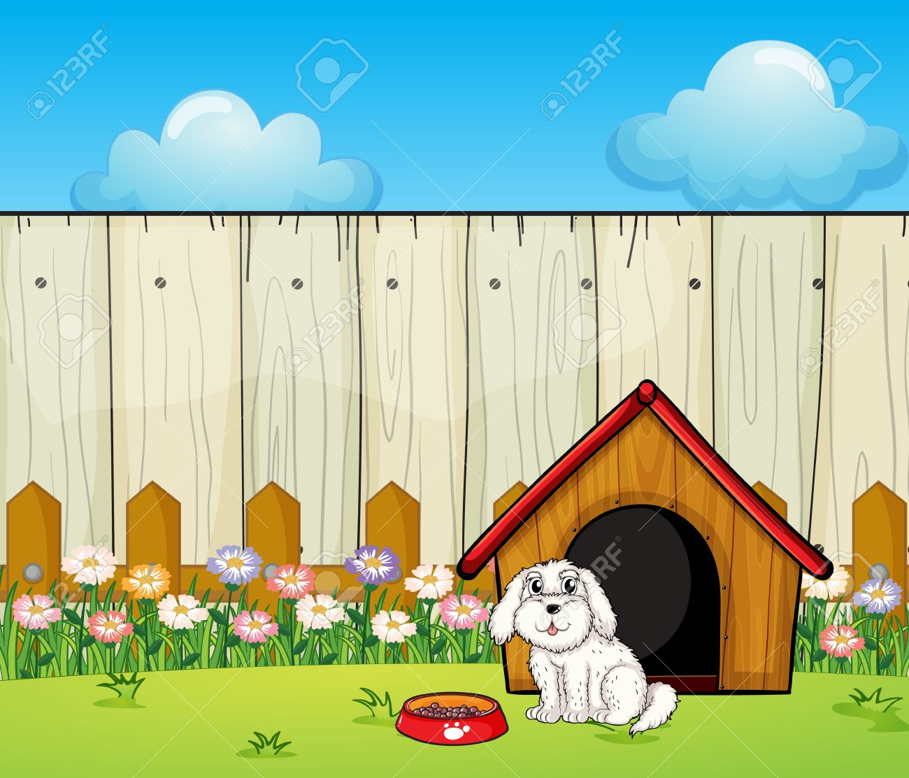 Illustration of a dog and the dog house inside the fence Stock Vector - 17918331